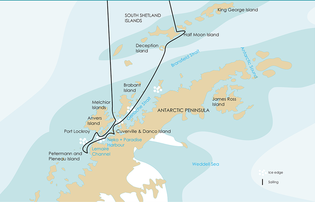 Antarctic Cruises Map